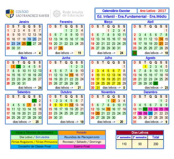Calendario Escolar 2017 - Agenda