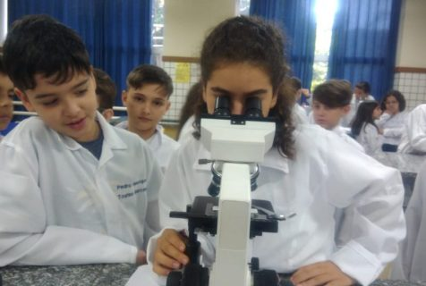 Xaverianos utilizam microscópio na aula de Ciências