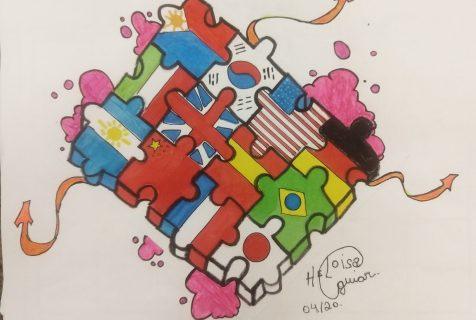 Xaverianos do 6º ano produzem grafite sobre o momento atual